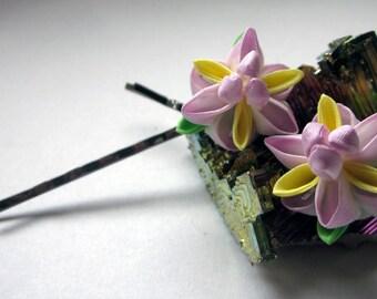 May - Purple Iris Kanzashi Hairpin Duo
