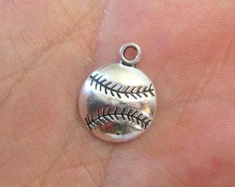 5 x Baseball Charm Antique Silver Softball Charm Pendants 18mm x 14.5mm