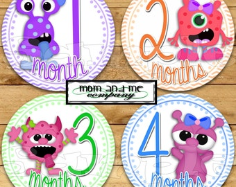 Monster Baby Girl Monthly stickers Baby Shower gift Baby Month stickers Month baby sticker Milestone stickers Onepiece stickers zigzag
