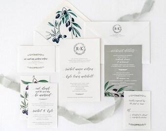 Olive Wedding Invitation - Vintage Wedding Invitation - Olive Branch Envelope Liners - Olive Branch Invitation - SAMPLE SET