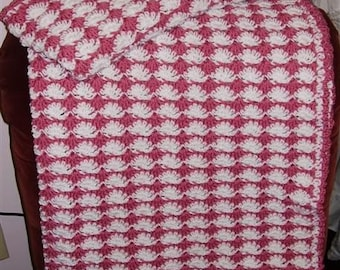 Rose and White Baby Blanket - baby afghan