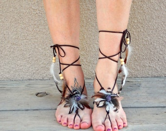 Feather Barefoot Sandals, Amethyst Barefoot Jewelry, Leather Lace, February Birthstone, More Gemstone Options, Turquoise Foot Jewelry
