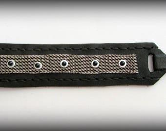 Bracelet Unisex Black Leather
