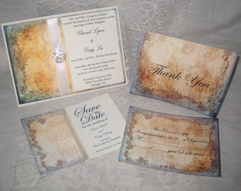 Lace Wedding Invitations, Clara Collection Set French Market Elegant Package Shabby Chic, Haute Couture