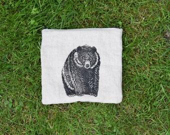 Black bear zip pouch coin purse zipper pouch