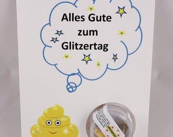 "Shit The glitter-the original glitter pills-greeting card ""Happy Glitter"" with 5 glitter pills"