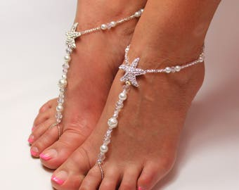 Beach wedding barefoot sandals Bridal foot jewelry Rhinestone starfish barefoot sandals Barefoot Sandals Bridal shoes Footless sandals