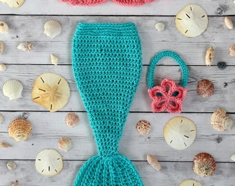Baby Mermaid Outfit - Crochet Baby Mermaid Tail, Mermaid Top and Mermaid Head Band Set or Individual Pieces Newborn to 12 Months