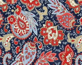 Anns Arbor Cream Navy 14842 14 - Moda Fabrics 100% Cotton Quilting Fabric by Minick and Simpson