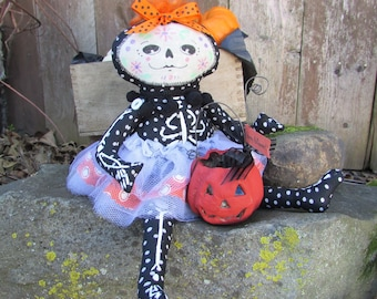 Halloween Art Collectible Doll - Day of the Dead - Dia de los Muertos - Sugar Skull - Flora- One of a Kind Collectible - Jointed Doll