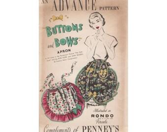 1940's Advance Buttons & Bows Apron Vintage Pattern