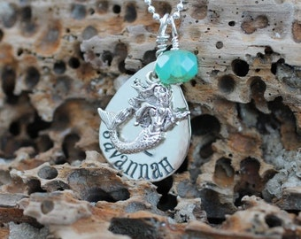 personalized mermaid necklace, hand stamped