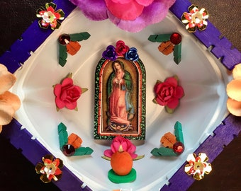Our-Lady-of-Guadalupe Nicho / Virgen-de-Guadalupe Handmade Altar / Day of the Dead Skull Shrine / Dia-de-los-Muertos Calavera Decor