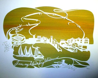Baltimore Harbor Wedding Commemoration - Gift - handcut papercut on painted background