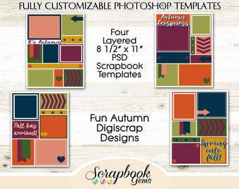 "Four 8 1/2"" x 11"" Autumn Digital Scrapbook Layered Photo Templates, PSD Format digiscrap photoshop collage customizable fall winter"