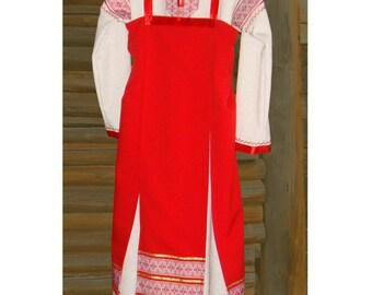 Сostume sundress and undershirt; girl sundress; folk sundress; baltic woman medieval dress
