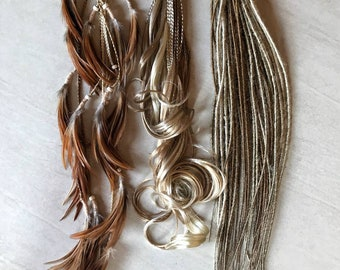 "Mix blonde light brown De dreads braids feathers 22"" 24"" easy to install"