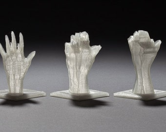 "Set of 5 White Translucent 3D Printed Mini Hand Sculptures from ""Ascent"" Project"