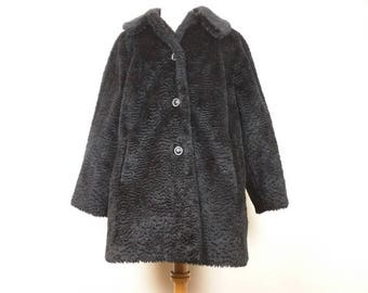 Vintage Coat Black Curly Faux Furt Women's L Komitor 80s