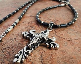 Mens Long Necklace 32in, Black Onyx, Stainless Steel Bull Head Cross Pendant, Jewelry for Men, Guys, Biker, Rocker