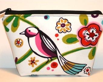 Zip Pouch - Zippered Pouch - Makeup Bag - Padded - Flat bottom - Cosmetic Bag - Bird - Larkspur - 2