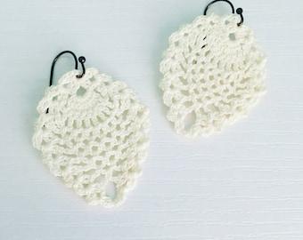 Sheridan Crochet Earrings in White, Bridal Earrings, Wedding Jewelry, Bride, Lace Doily Earrings, Beach Fashion, Gift Under 30, Gift for Her