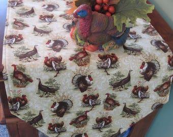 """90"""" Thanksgiving Turkey Table Runner Reversible Fall Runner Thanksgiving Table Runner Thanksgiving Table Decor Green Fall Table Runner"""