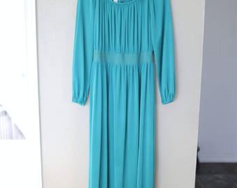 vintage turquoise blue maxi dress *