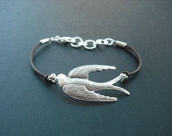 Gliding Bird Bracelet - antique silver brass