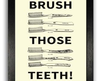 Brush Your Teeth Bathroom Sign, Vintage Tooth Brush Bathroom Wall Decor, 8 x 10 Poster Print, Bathroom Art Print Decor, Simplistic Decor
