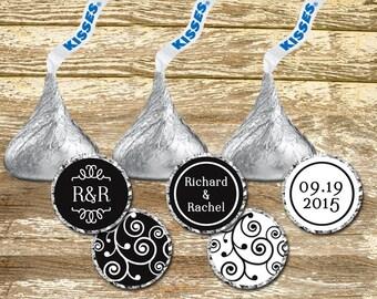 Hershey Kisses Stickers - Wedding Favors, Black and White Wedding, Wedding Chocolates, Wedding Stickers, Personalized Wedding