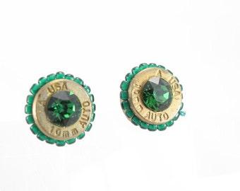 Bullet casing earrings-10mm bullet casing-Green crystal-green delica beads-post earrings-ammo jewelry-recycled-simple jewelry-modern