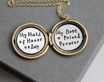 Maid of Honor Gift Necklace, Maid of Honor Proposal gift, Will You Be My Maid of Honor, Matron of Honor Gift, Wedding Gift, Gift from Bride