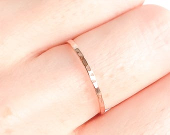 Thin Hammered Ring, Minimalist Rose Gold Ring, Rose Gold Stacking Ring, Rose Gold Filled Ring