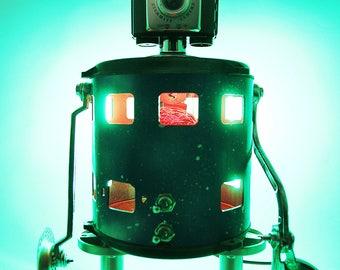 Robot sculpture, sculpture, robot, robot lamp, found objects, assemblage art sculpture, recycled materials, camera, camera lamp