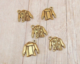 Set of 4 or 5 Gold Pewter Charms - Denim Shirt - Button Up Shirt - Clothing - Top - Pockets