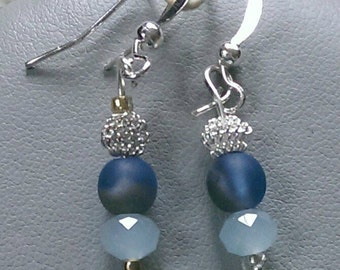Metallic Periwinkle Beaded Earrings