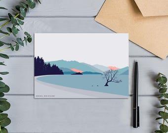 Lake Wanaka Tree, New Zealand Modern Mountains Art Landscape Card