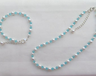 Wedding Jewelry Turquoise Flower Girl Set White or Ivory Pearls and Light Turquoise Crystals Bridal Jewelry Set
