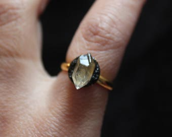 gypsy rings herkimer diamond ring gold herkimer ring raw stone ring raw crystal ring healing crystal ring boho rings bohemian rings black