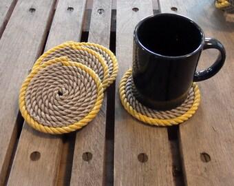 SET OF 4 Rope Coasters Choose Color Nautical Decor Coastal Beach Yellow Gray Grey