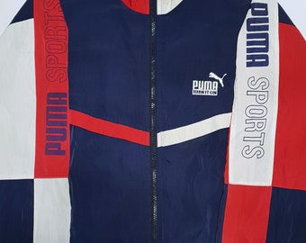 Vintage PUMA Sports Jacket Red White and Blue LARGE