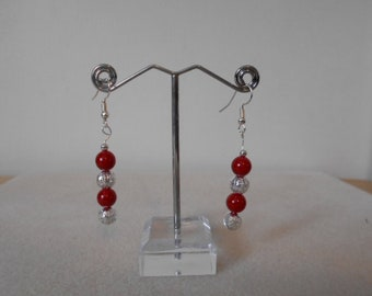 Silver plated Coral Drop Earrings