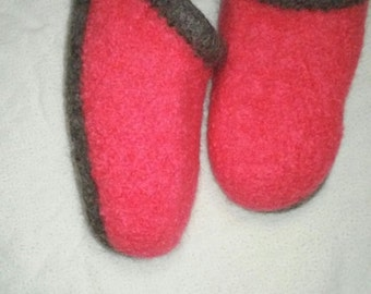 Pink with Gray Size 5-6 Wool Felted Women's Slippers