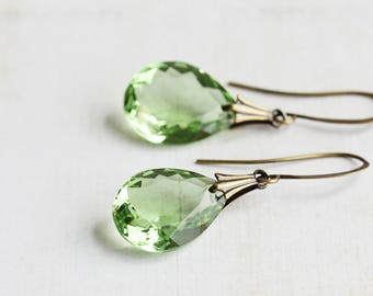 Green Drop Earrings, Large Faceted Glass Teardrop Earrings on Antiqued Brass Hooks, Light Green Earrings, Bridesmaid Jewelry