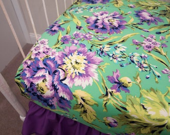 Floral Emerald Purple, Green, and Aqua Fitted Crib Sheet Cot Sheet / Changing Pad Cover  made with Love Bliss Bouquet Fabric