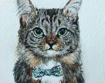 Custom Pet Portrait 5X7. Cat Portrait. Cat Lover. Personalized.