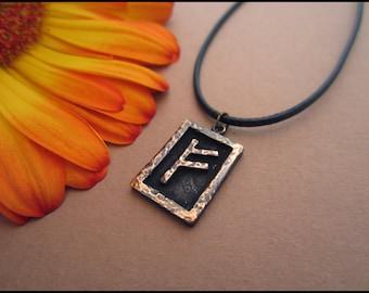 Viking Fehu Rune  - Wealth - Viking Norse Jewelry Pendant Necklace