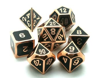 DND Dice Set: Copper Dice Pathfinder Dice metal dice set of dice d20 RPG Role Playing Games polyhedral dice