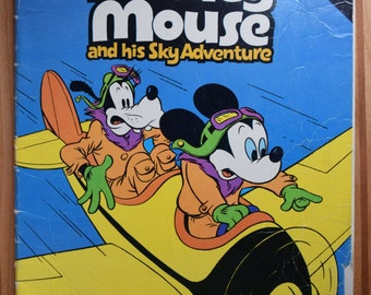 Vintage Walt Disney's Mickey Mouse and his Sky Adventure/A Dynabrite Comic/Whitman/Walt Disney Productions/Comic book/Goofy/Mickey Mouse